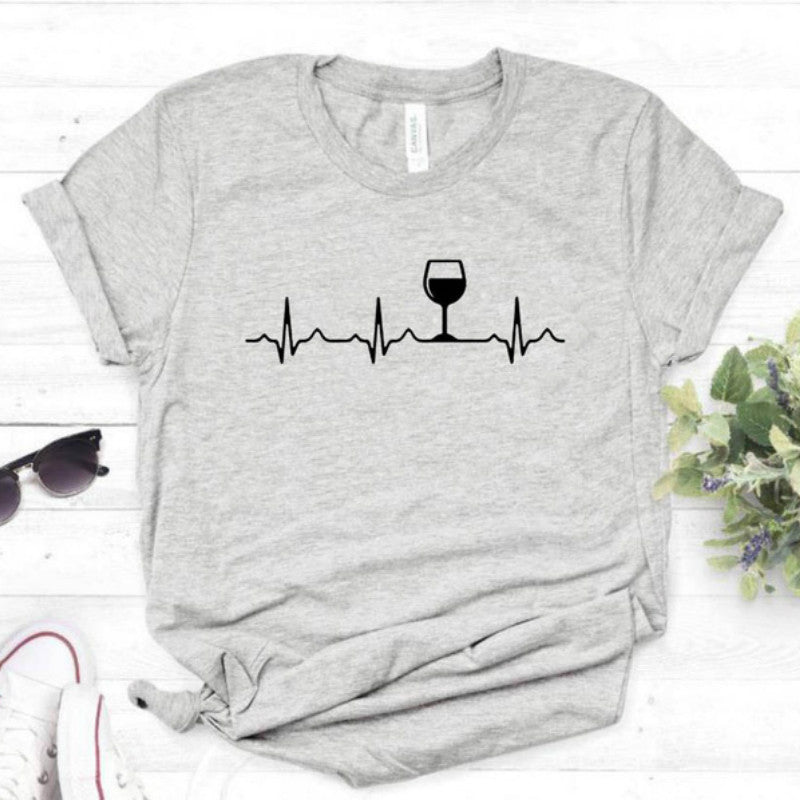 Wine Heartbeat Print T Shirt Women Short Sleeve O Neck Loose Tshirt 2020 Summer Women Tee Shirt Tops Camisetas Mujer Femme Tops