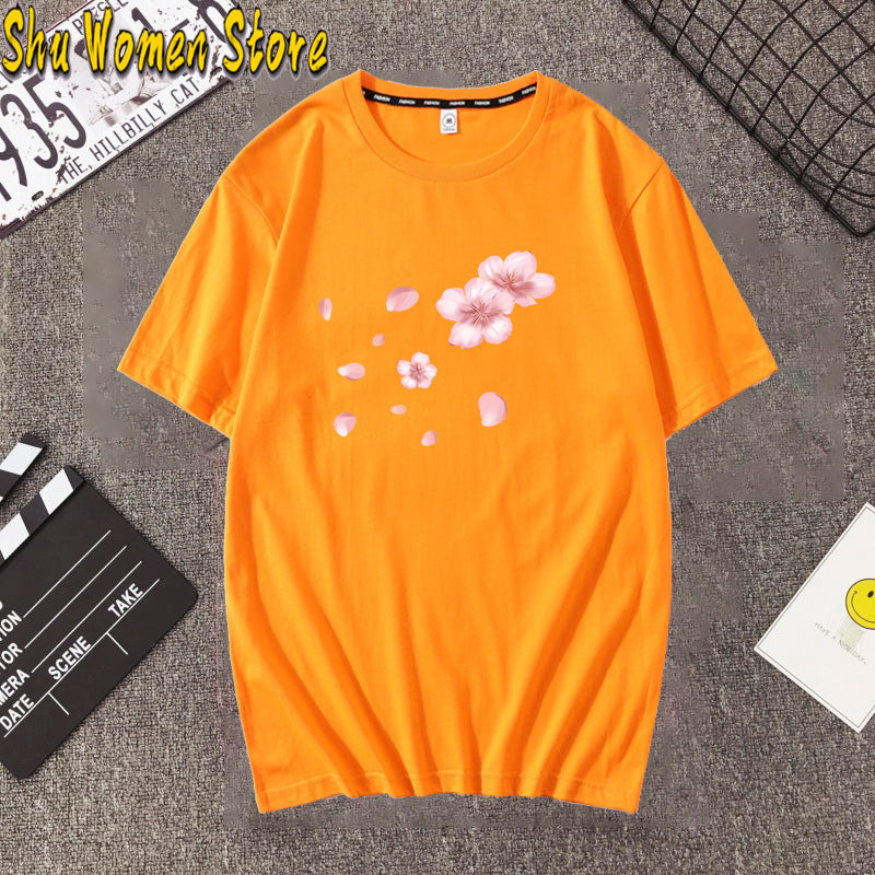 Pink Cherry Blossom T-Shirt Summer cute Women t-shirt maiden super lovely flowers art print girl Tops ladies casual