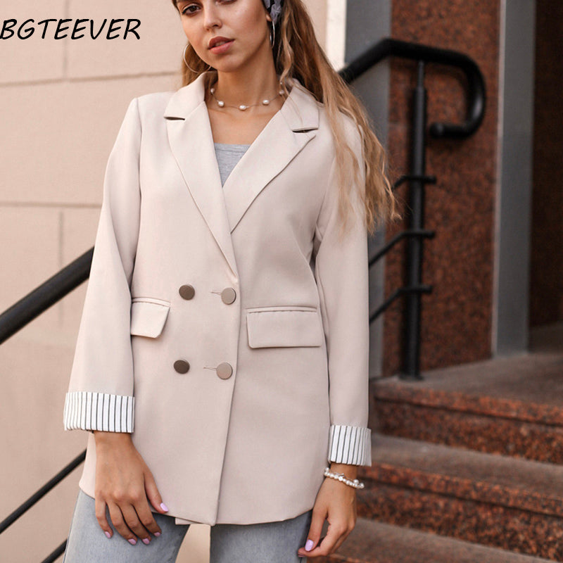 Casual Double Breasted Women Jackets Notched Collar Spring Women Blazer Jacket Autumn Female Outerwear Elegant Ladies Coat 2020