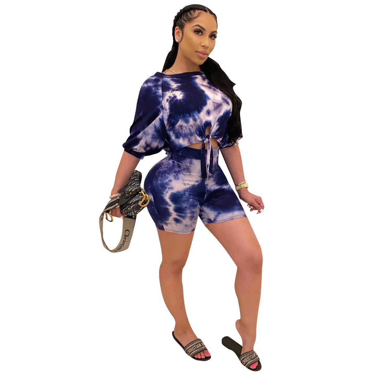 Summer Women Two Pieces Set Tracksuits Half Sleeve O-Neck Tops+Shorts Suits Night Joggers Print Sporty Outfits GL737