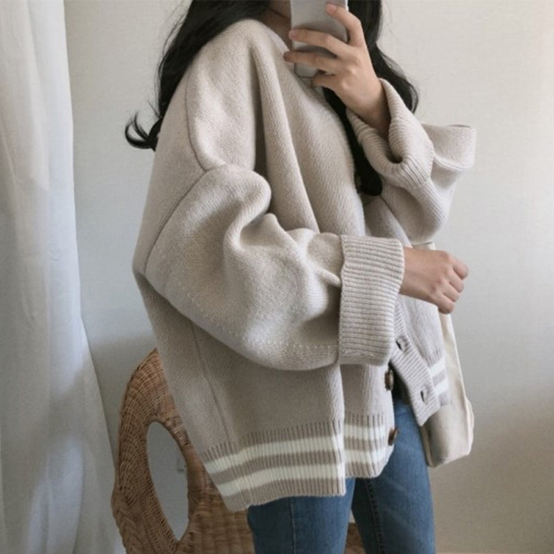 Women Knitted Sweater Vintage V-neck Autumn Winter Korean Kardigan Harajuku Solid Color Plus Size Cardigan Knitwear