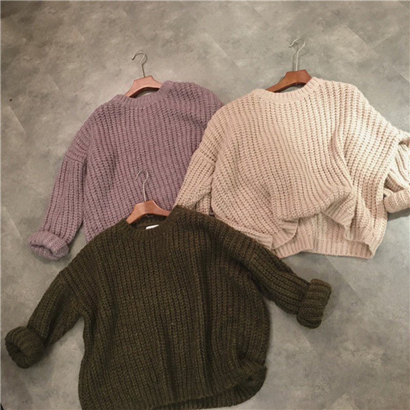 Retro Autumn Winter Knitted Sweater For Women Pull Femme Oversize Loose Long Sleeve Solid Color Long Warm Sweater Jumper