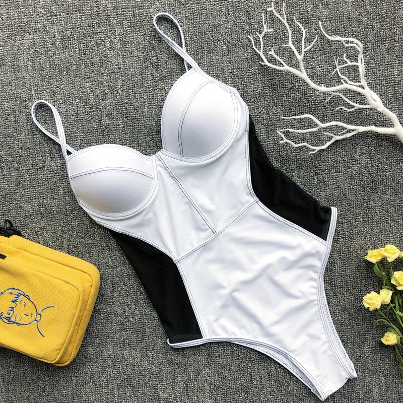 New One Piece Women's Swimsuit Push Up Padded Women Swimsuit Strap Patchwork Swimwear Women's Swimming Bathing Suit Beachwear