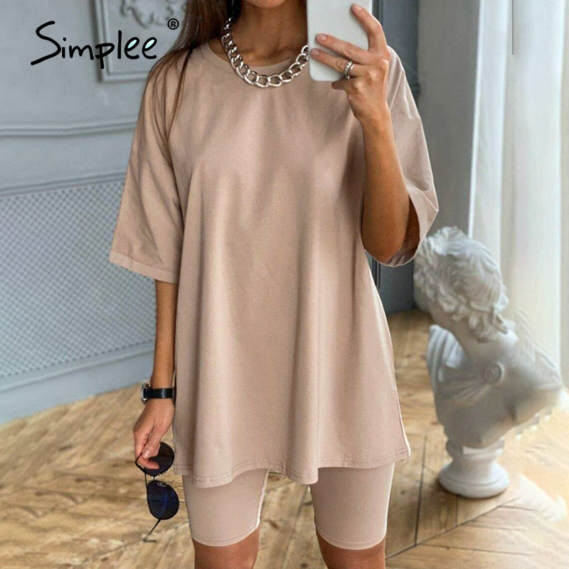 Simplee Casual solid new women's two piece suit including belt solid color home loose sports fashion leisure suit summer 2020