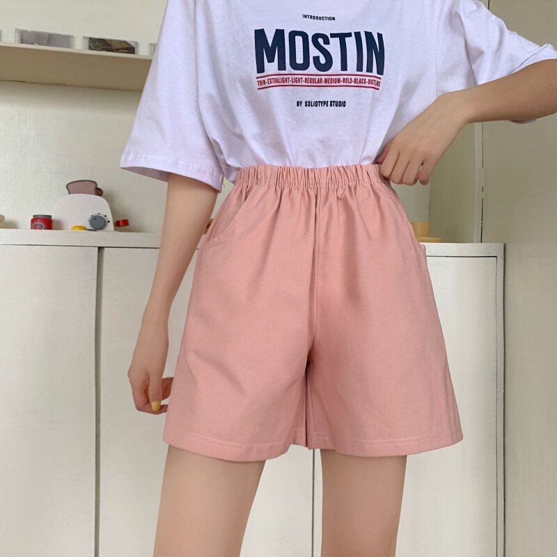 6 color tooling shorts female Punk summer solid color loose straight casual high waist cotton shorts