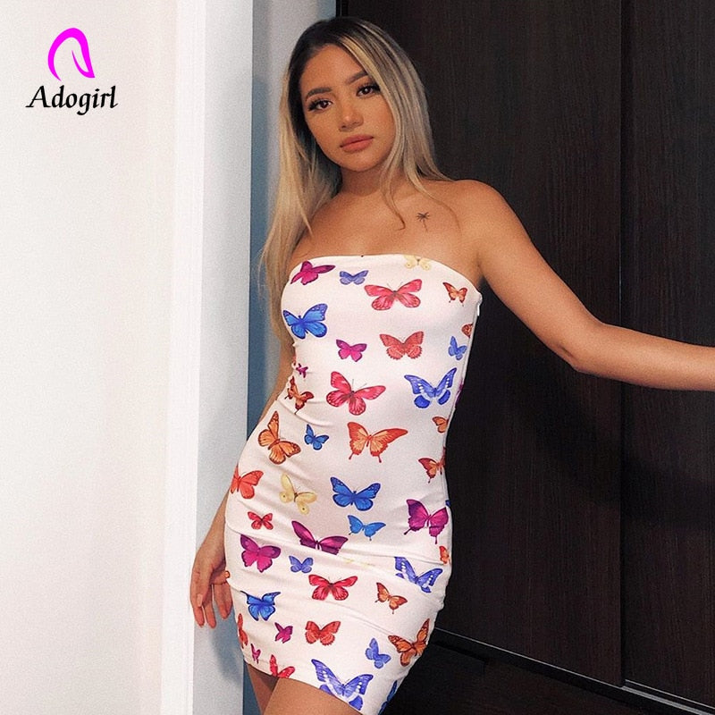 Off Shoulder 2020 Women Sexy Strapless Mini Dress Butterfly Print Bodycon Summer Dress Female Casual Backless Outfits Vestidos