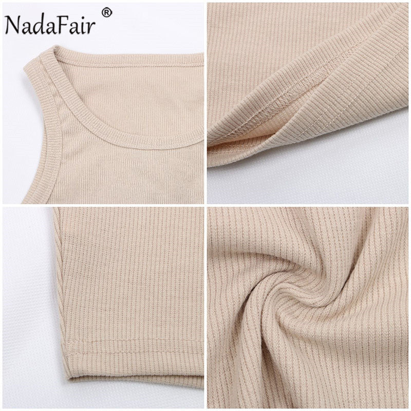 Nadafair Casual Ribbed Tank Top Women White Off Shoulder Knitted Tops Stretchy Solid 2020 Summer Sexy Crop Top
