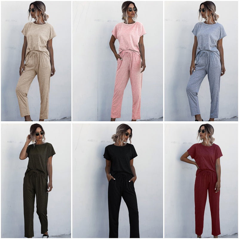 2020 Hotsale 2pcs Women Summer Tracksuits Set Lounge Wear Short Sleeve Tops Long Pants Sweat Suits Elastic Waist Casual  Solid