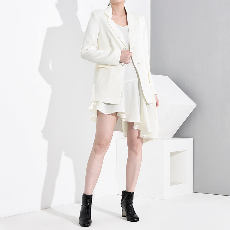 [EAM] Loose Fit Asymmetrical Two Pieces Pleated Jacket New Lapel Long Sleeve Women Coat Fashion Tide Spring Autumn 2020 1A5020