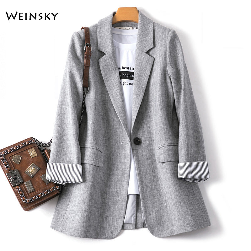 2020 New Fashion Business Plaid Suits Women Work Office Ladies Long Sleeve Spring Casual Blazer