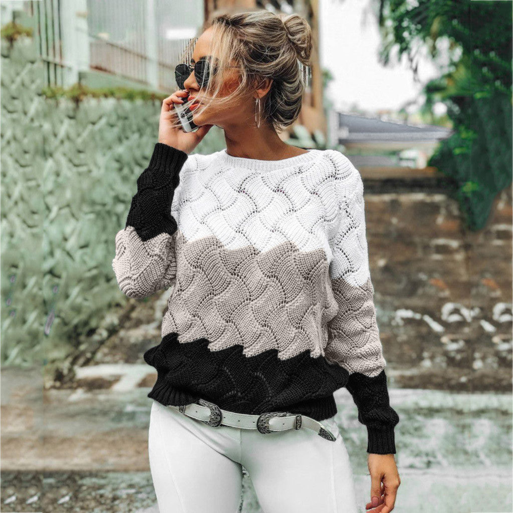 Women's Sweaters Ladies Fashion Autumn Winter Casual Knitwear Slim Fit Long Sleeve Stripe O-neck Knitted Sweater Tops A40#