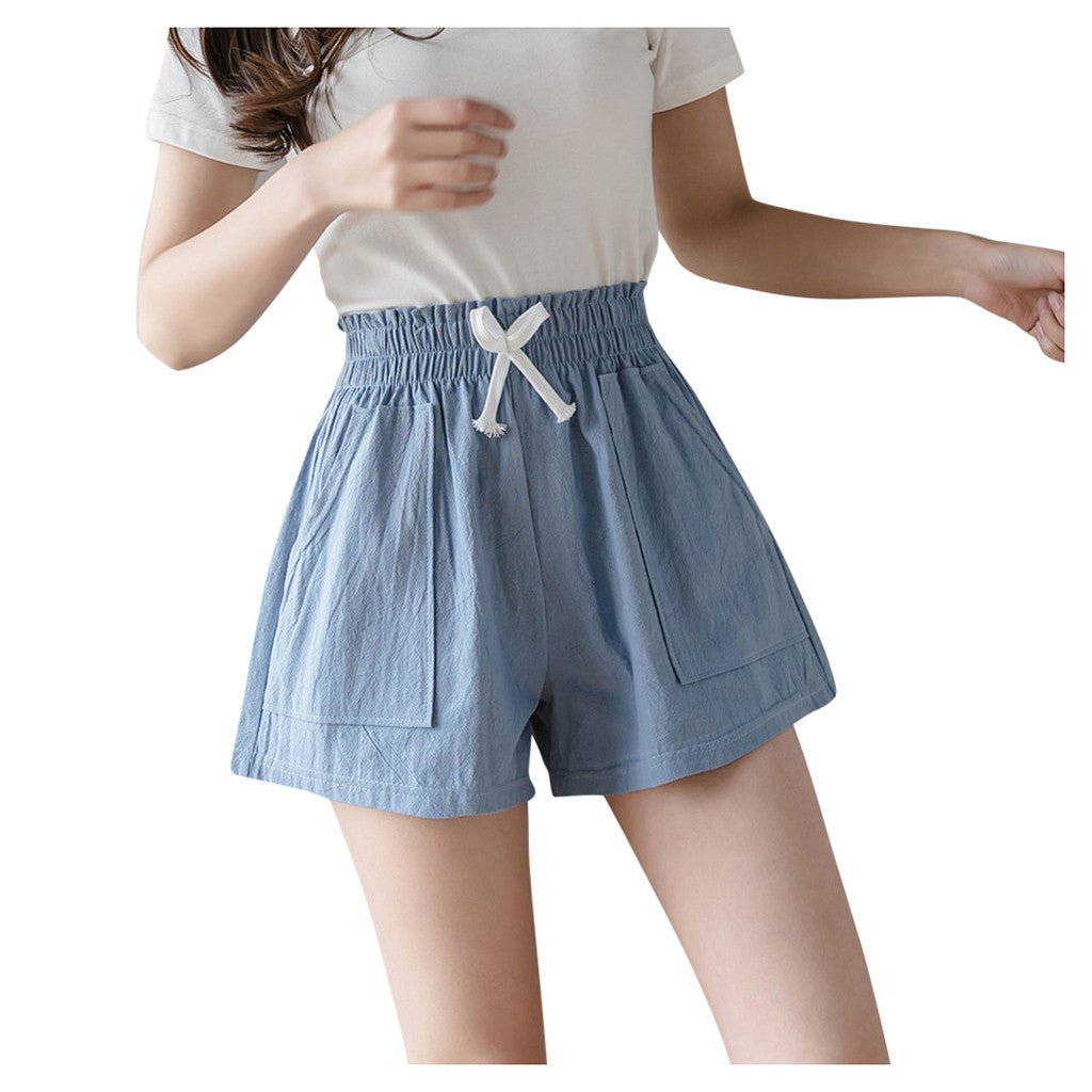 Cotton And Linen Bandage Short Women Lady Solid Casual Loose Plus Size 4XL Short High Waist Pockets Shorts шорты @30