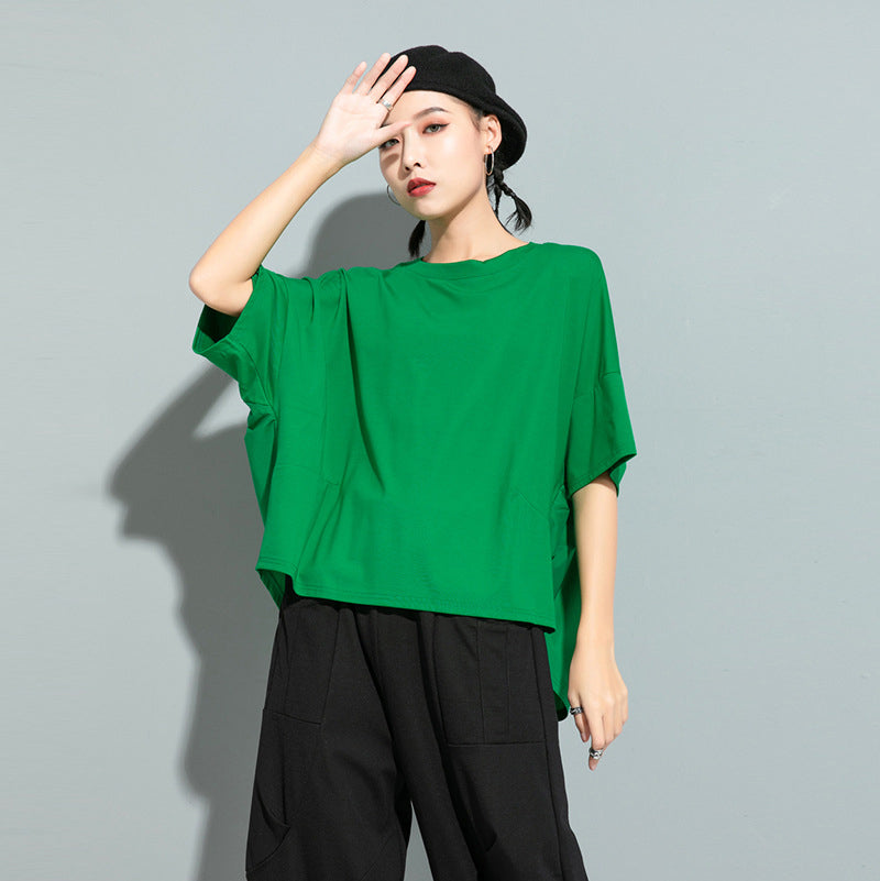 EAM Women Green Red Back Ruffles Split Big Size T-shirt Round Neck Half Sleeve Tide Spring Summer 1U507