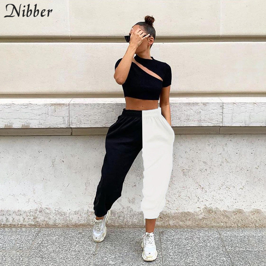Nibber autumn winter loose casual pants women street leisure Hip-hop punk harem pants mujer 2019loose pure Patchwork Active pant
