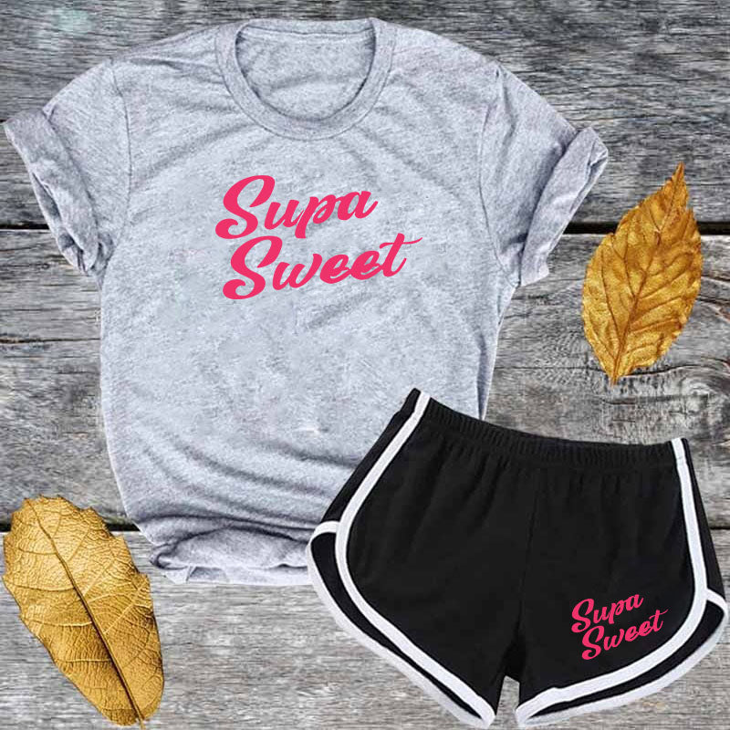Cute Pink Letter T shirt and Shorts Tracksuit Set Summer Women Short Sleeve O-neck Casual 2 Piece Outfit for Woman