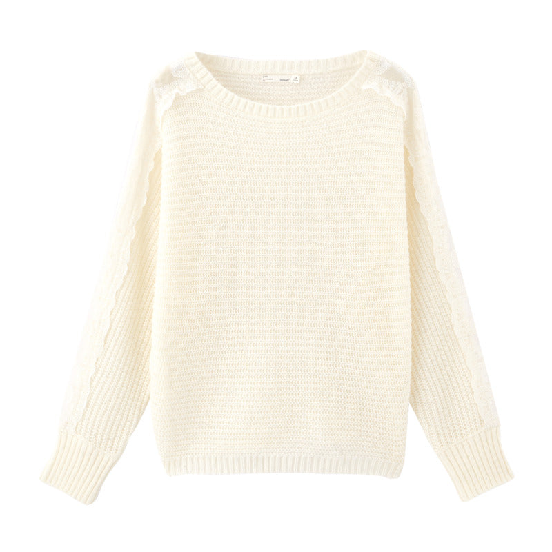 INMAN Spring Literary Round Collar Splicing Lace Hollow Out Pullover Loose Pure and fresh Sweater