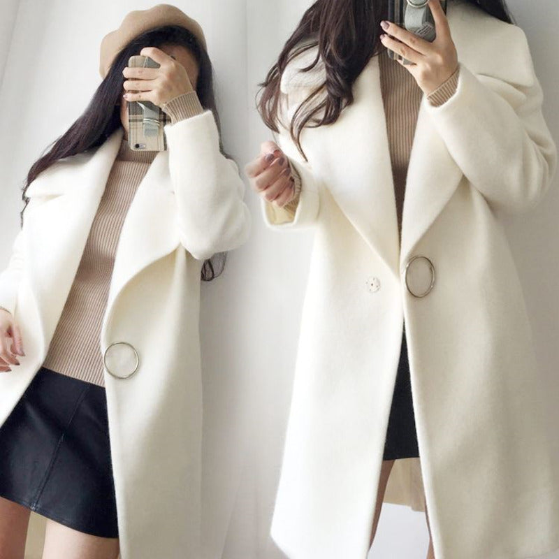 XUXI Women White Wool Mixture Coat Woman Long Sleeve Winter Fashion Coat Delicate Wool Coat For 2019 Female Overcoat FZ796