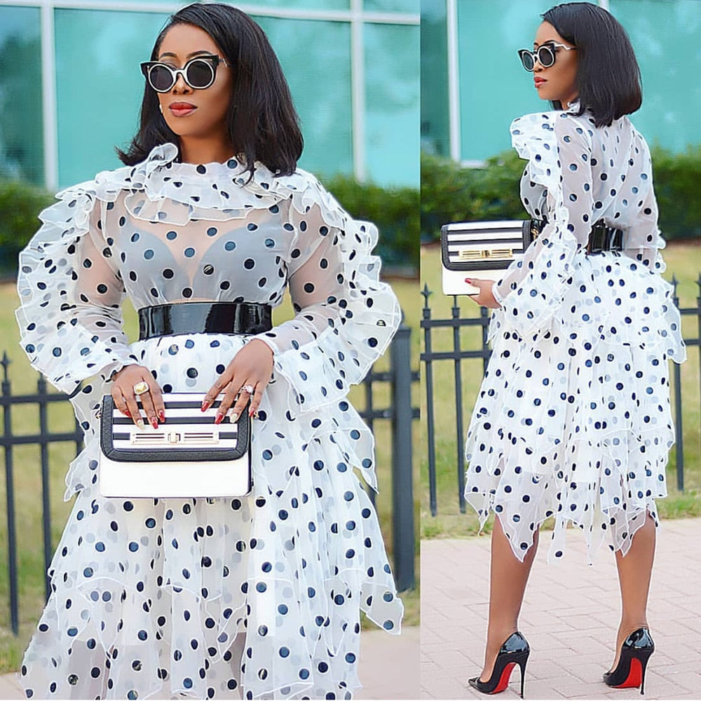 Female New Polka Dot Two Piece Set Organza Oversize Blouse Irregular Midi Skirt Set Plus Size Womens 2020 Spring Summer Fashion