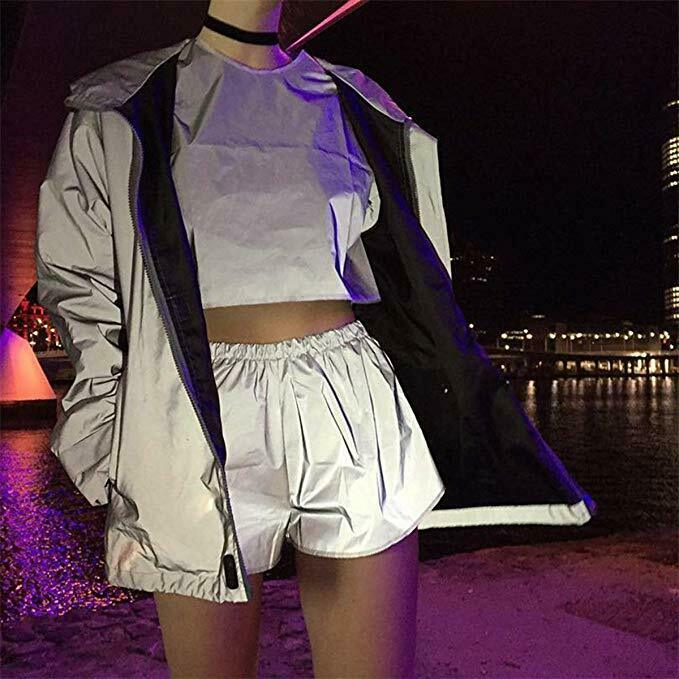 2020 Hot Shorts Ladies Reflective Luminous Shorts Hip Hop Leisure Casual Shiny Dance Party Casual Club Track Shorts Streetwear