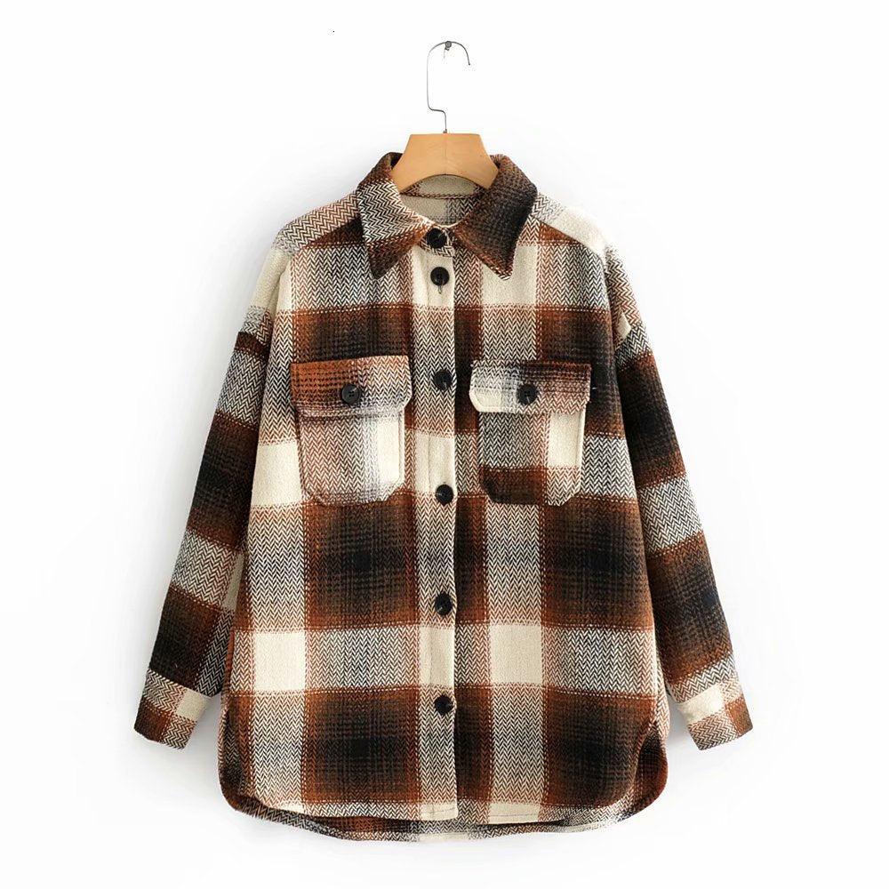 Women Plaid Shirt Jacket Winter Woolen Coat Single Breasted Oversize Coat High Quality Lapel Tops