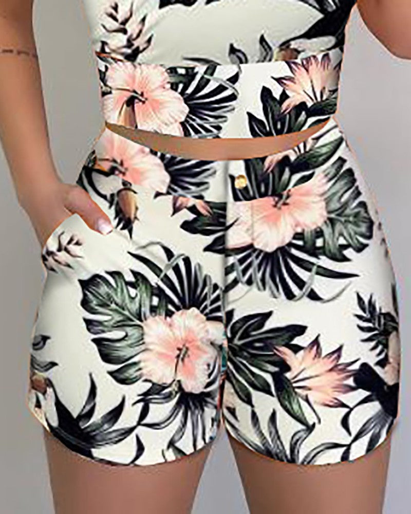 2020 New Summer Spaghetti Strap Print Tops & Pocket Design Shorts Sets Casual 2 Piece Set Outfits for Women