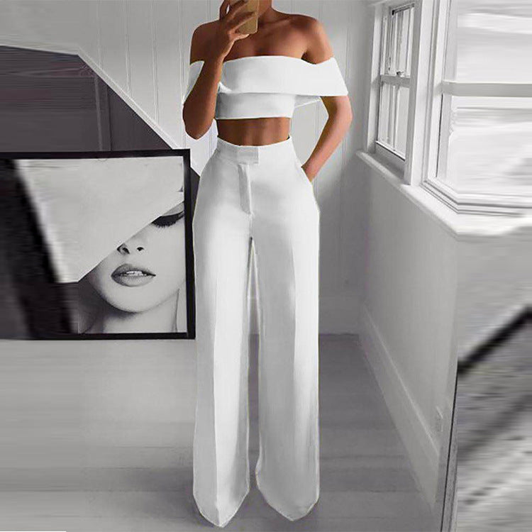 CM.YAYA women summer vintage two piece set off shoulder crop top straight pants suit sexy party tracksuit 3 color outfits