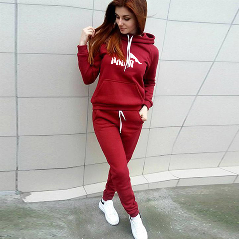2020 Two Piece Set Tracksuit Women Hooded Sweatshirt + Pants Sets Sportswear Suit Casual Hoodies With Pockets Ropa De Mujer