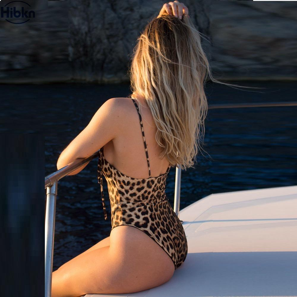 One piece swimsuit striped swim wear leopard swimwear female-SWIMWEAR-SheSimplyShops