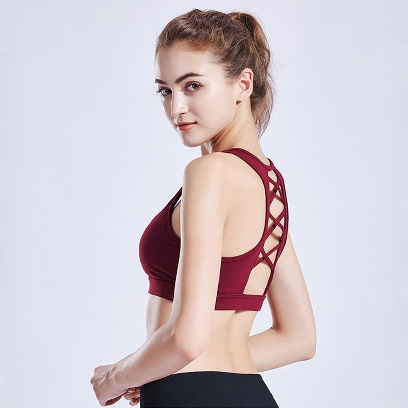 High Impact Sports Bra Padded Solid Sport Top Push Up Running Yoga Bra Fitness Women Sport Underwear Gym Tank Top Sport Clothing