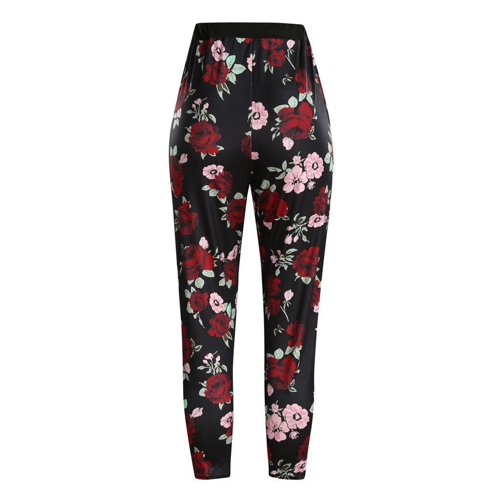 High Quality Women Yoga Pants Plus Size XL 5XL Flower Printed Elastic Fitness Sports Leggings Yoga Athletic Trousers N20
