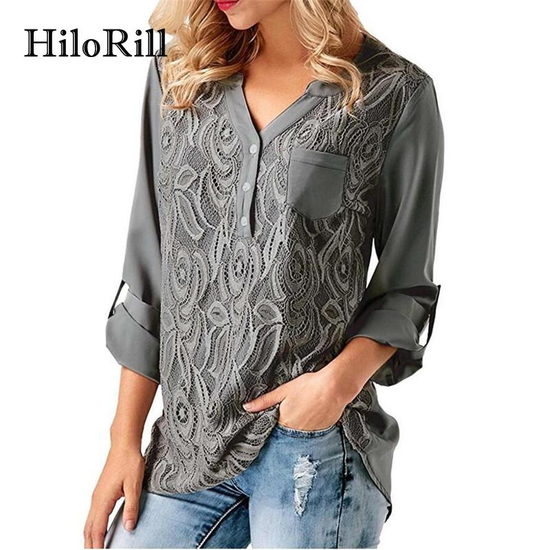 Lace Chiffon Blouse Fashion Long Sleeve Womens Tops And Blouses Shirts Casual V Neck Office Lace Top Tunic-Blouse-SheSimplyShops