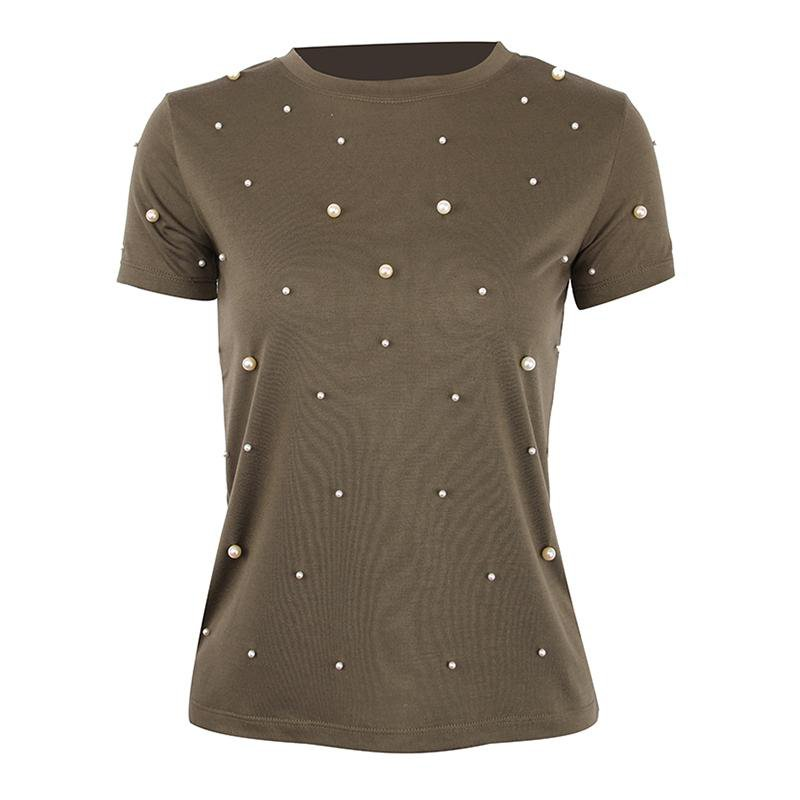 Summer T Shirt Women Pearls Beading Solid Cotton Casual Tops Short Sleeve O-Neck Tee Shirt-SHIRTS-SheSimplyShops