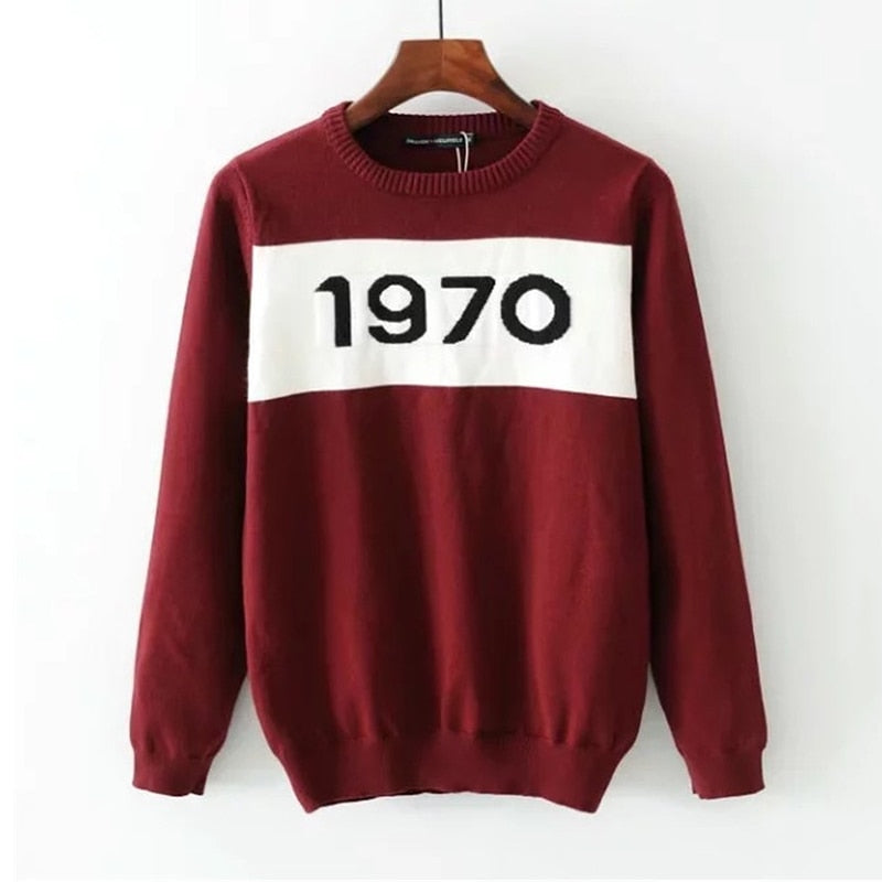 Hirsionsan Sweater Women Autumn Winter 1970 Letters Knitted Women Sweaters and Pullovers Casual Jumper Black Pull Femme