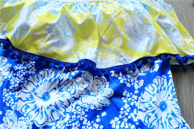unique Push Up Bikini Conjointly Swimsuit Ladies Sexy Swimsuit Blue Yellow Flower Swimsuit Bikini-BAGS-SheSimplyShops