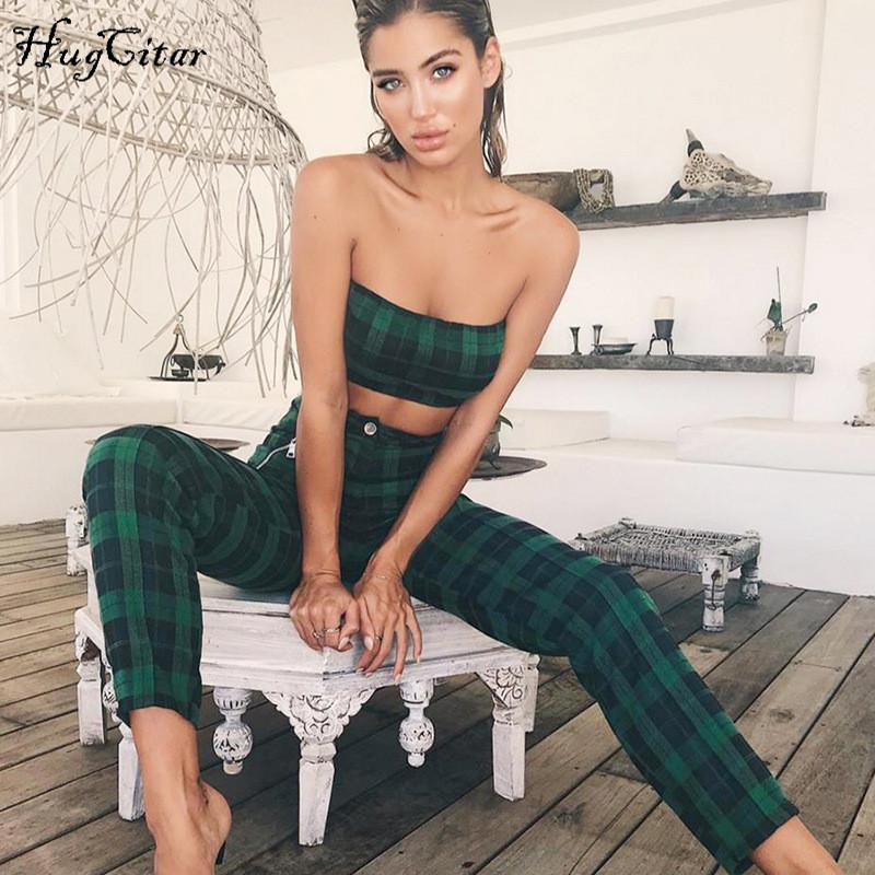 Green plaid sipper top high waist pants women spring summer female sets-SheSimplyShops