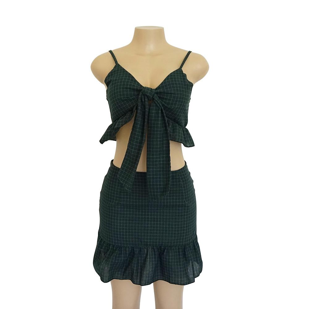 Straps plaid V-neck lace up bandage sexy ruffles skirt pieces sets summer women set-SheSimplyShops
