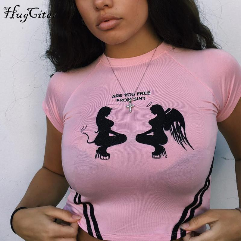 Short sleeve O-neck angel and devil print letters print crop top women T-shirt-SheSimplyShops