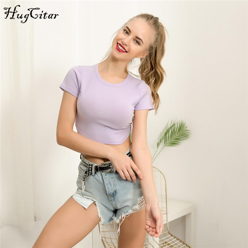 Cotton short sleeve body con solid tops summer women casual female T-shirts-SheSimplyShops