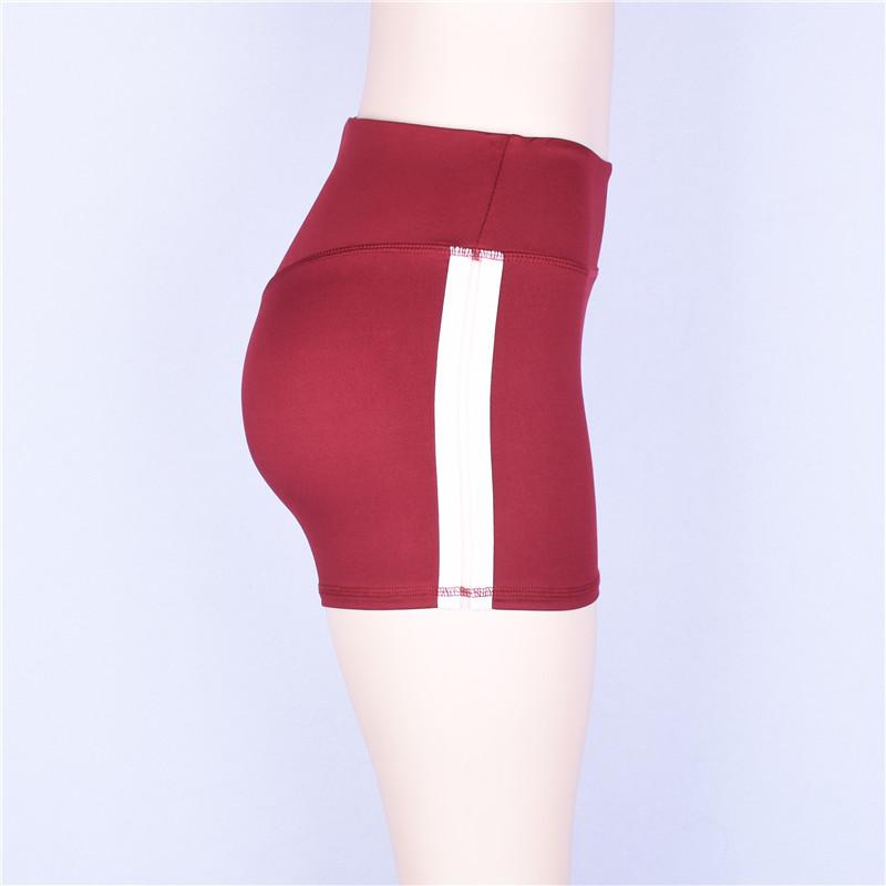 High waist stripe patchwork body con shorts summer women sportswear Elastic female shorts-SheSimplyShops