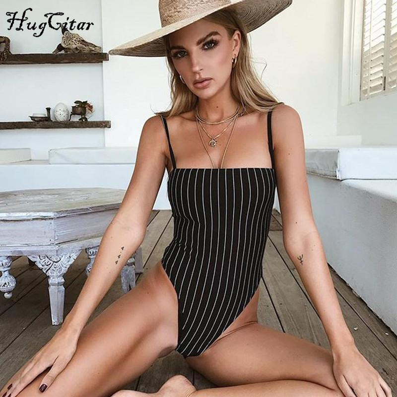 Stripe slash neck backless body con bodysuit women-SheSimplyShops