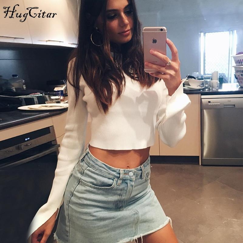 Split long sleeve knitted top autumn winter women white solid high neck T-shirt-SheSimplyShops