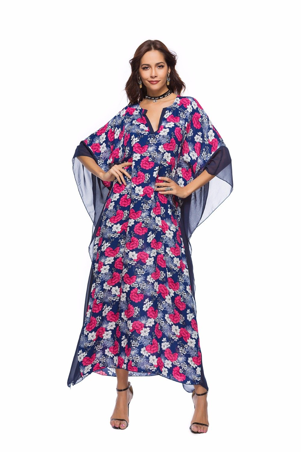 Cover up Beach Long Dress Print Floral Swimwear Bikini cover ups Women Tunic Swimsuit Cover-Ups-Dress-SheSimplyShops