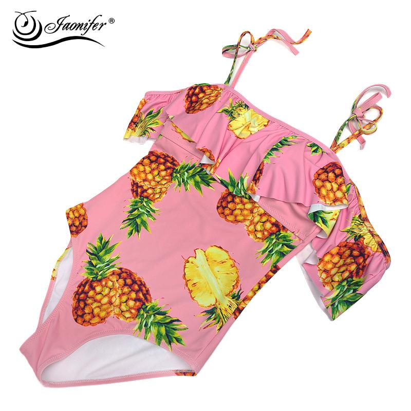 One Piece Swimwear Women Pineapple Printed Bandage Swimsuit-Tops-SheSimplyShops