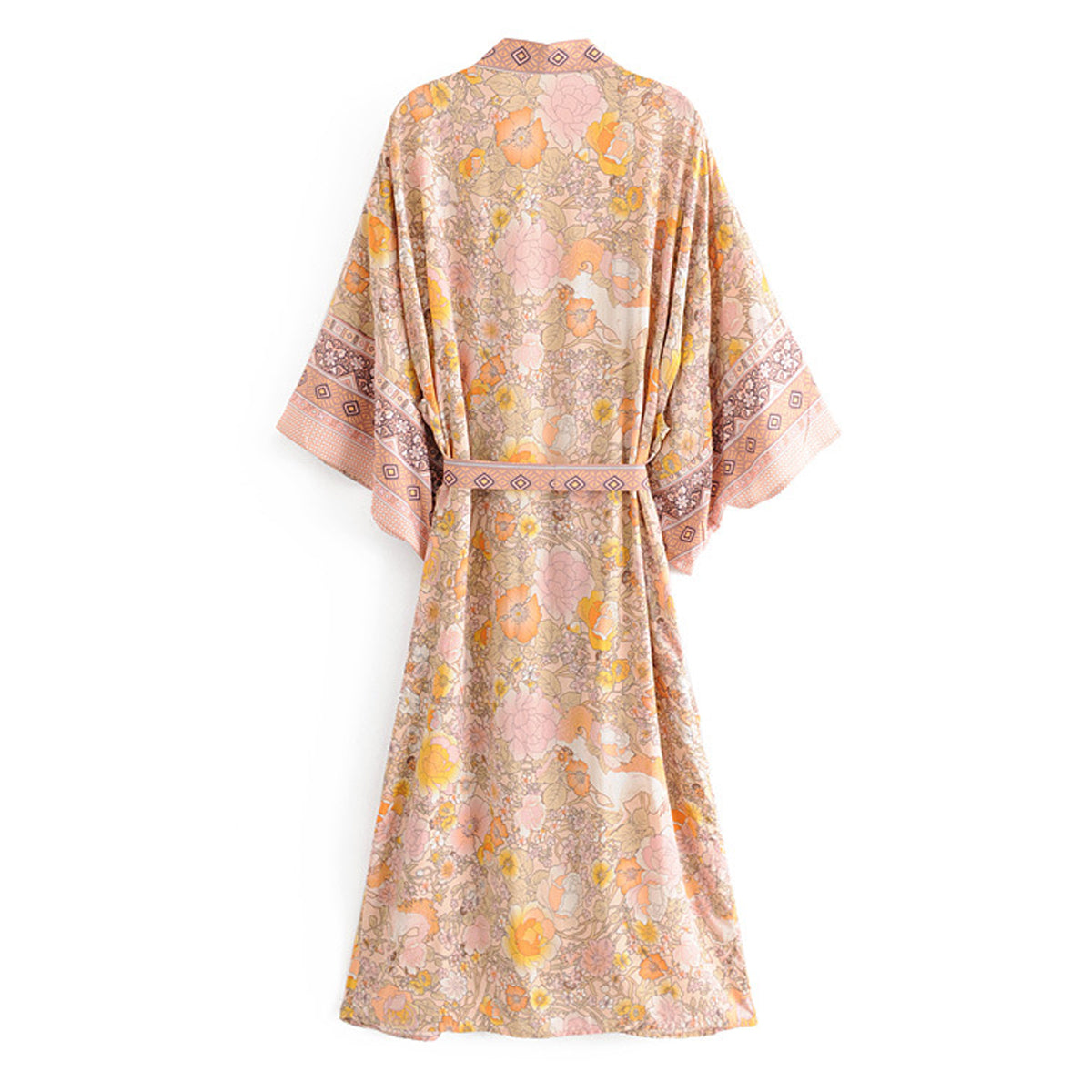 Jastie Floral Print Robe Femme Summer Long Cardigan Jacket Women Shirt Vintage Kimono Cardigans Loose Boho Casual Beach Top