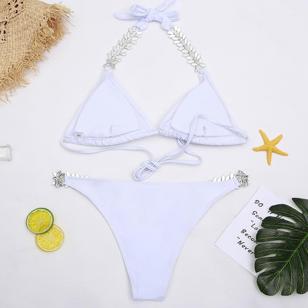 Jewelry Bikini Women Bandage Bikini Set Crystal Swimsuit Beachwear Rhinestone Swimwear Backless Padded Bathing Suit-JEWELRY-SheSimplyShops
