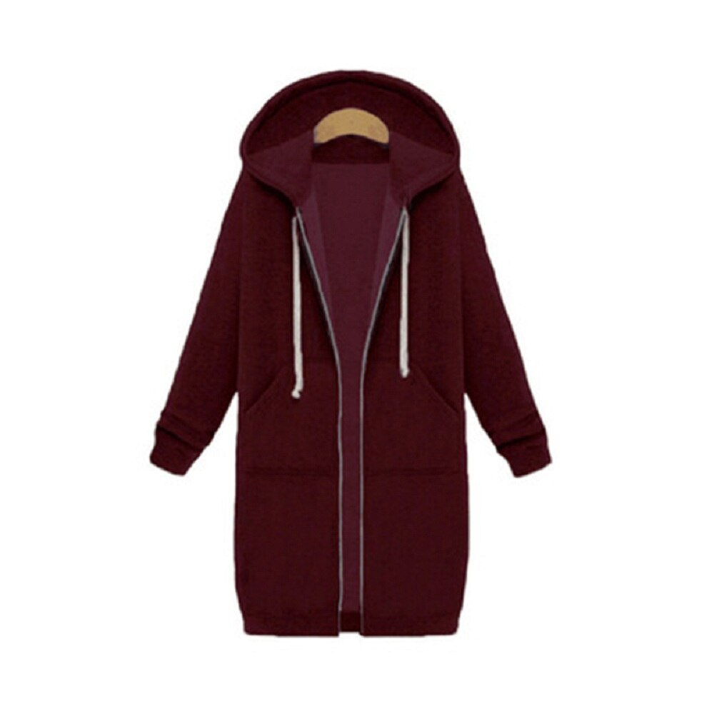 Joineles Plus Size 5XL Zip Up Hooded Women Jacket Full Sleeves Pockets Hoodies Autumn Winter Casual Coat Long Solid Outwear Tops