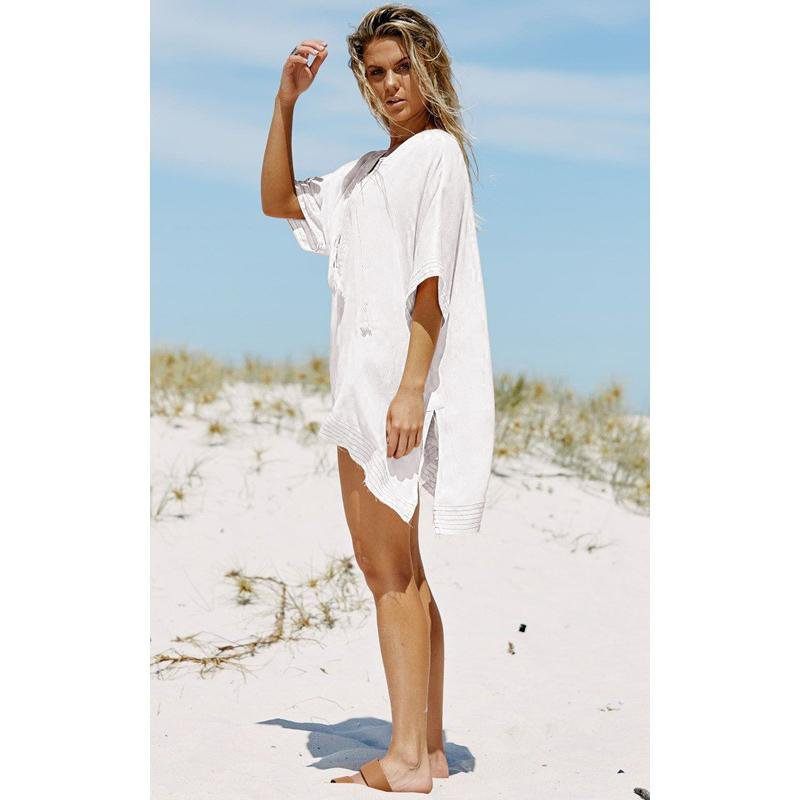 Kaftan Beach Ladies Beachwear Dresses Dress Tunic Bandage Skirt Loose Shirt Cloth Cover Bikinis-Dress-SheSimplyShops