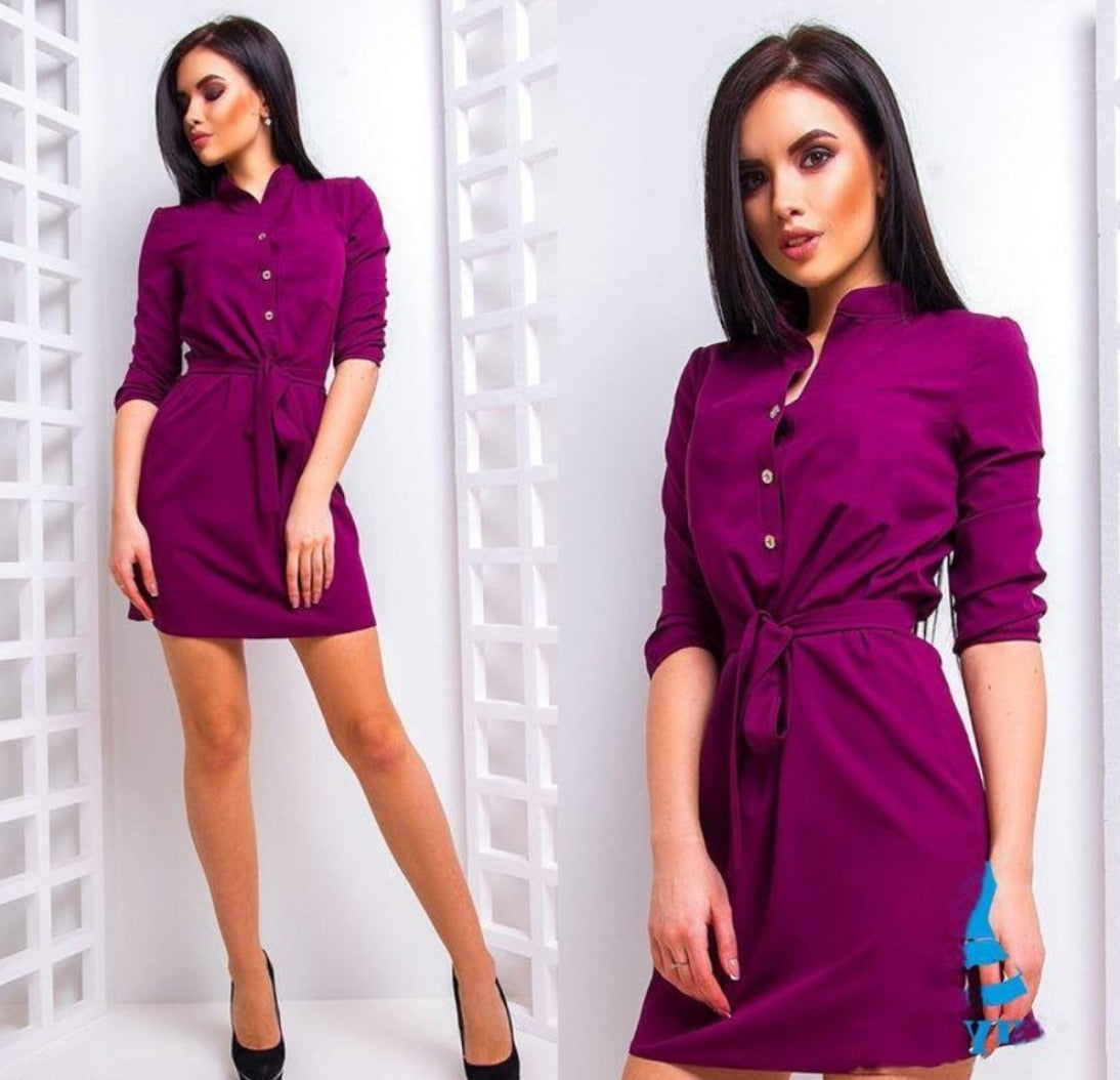 Spring new women's fashion three buckle belt dresses casual office collar seven points sleeve mini dresses-Dress-SheSimplyShops