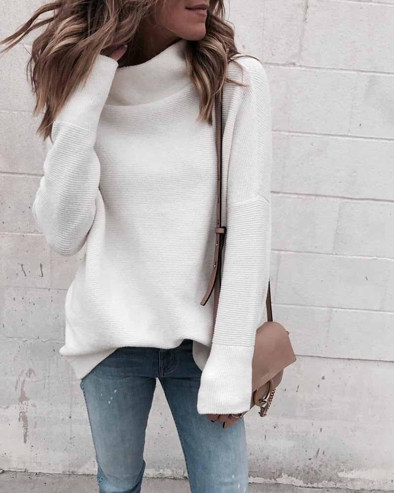 LOSSKY Long Sleeve Autumn Winter Sweater Women White Knitted Sweaters Pullover Jumper Turtleneck Sweater Female