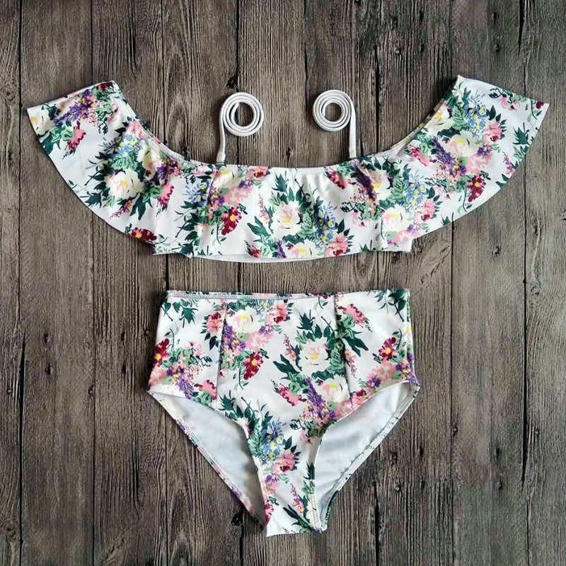 High Waist Bikini Swimwear Off Shoulder Bikinis Women Ruffle Bikini Swimsuit Bather Bathing Suit Printed-SheSimplyShops
